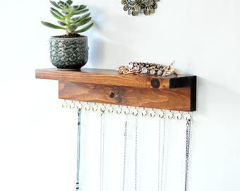 Jewelry Organizer With Shelf, Earring Display and Necklace Hooks