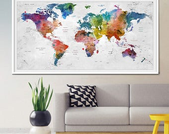 World Map Wall Art Print, Travel Map of the world, Extra large watercolor world map poster personalized gift and home decor  (L31)