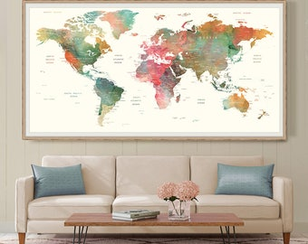 World map wall art large watercolor push pin world map poster extra large wall art print poster world map push pin map wall art (L142)