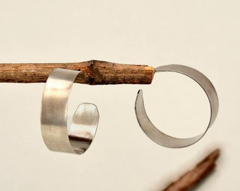 Sterling silver wide hoops, Medium size hoops, matte stud earring, simple thick hoop, plain earring, minimal jewelry, one inch hoop