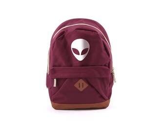 Alien Backpack Retro Sack Purple Black White Print Alien