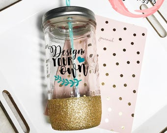 Custom 24 oz Tumbler- Mason Jar Tumbler- Glitter Dipped Tumbler- Personalized Mason Jar- Glitter Tumbler- Designs Your Own
