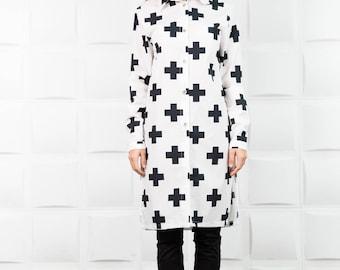 Extravagant shirt, extravagant tunic, long black shirt, fall shirt, extravagant tunic top, asymmetric shirt, asymmetric tunic, tops / B0086