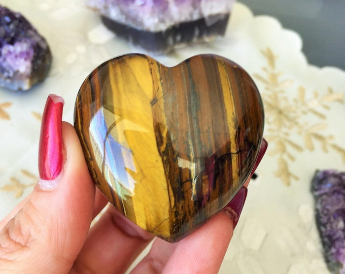 Tiger Eye Heart, Crystal Heart / Iron Tiger Hearts / Girlfriend Gift / Healing Crystals and Stones