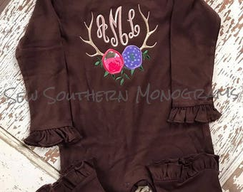 Floral Antler ruffle romper with monogram