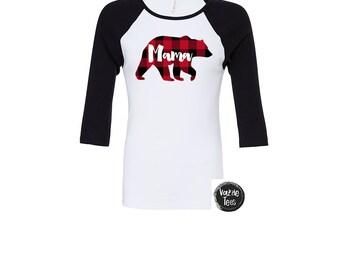 Mama Bear - Buffalo Plaid Shirt - Unisex Adult Raglans -  Lumberjack Shirt - Plaid Bear - Bear Shirt - Family  Shirts - Bear Shirts - Winter
