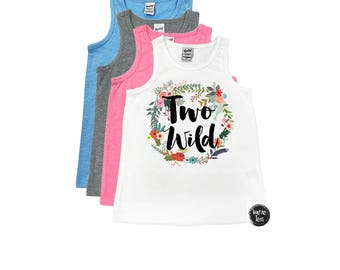 Two Wild Tank Top - 2nd Birthday - Two Year Old - TWO - Floral Wreath - Birthday Girl - Birthday Tank Tops - Girls' Tank Tops
