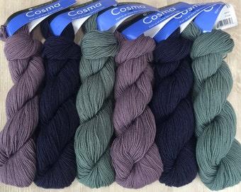 Berroco COSMA 9.99 +.99ea Ship Alpaca Wool Silk Sport Weight - Willow 2471-Deep Cornflower 2463-Moss 2472 - Halo, Sheen & Drape MSRP 12.00