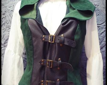 Leather Hooded Gilet Robinhood