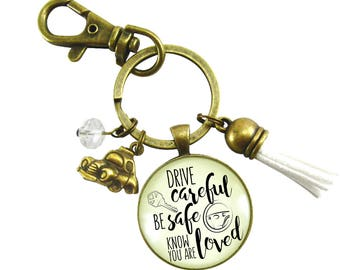 Drive Careful Be Safe Know You Are Loved New Driver Sweet 16 Teen Girl Key Chain Car Charm Birthday Present Daughter Grand Daughter Gift