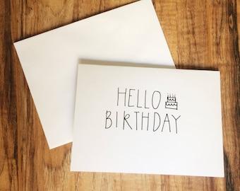 Handwritten Hello Birthday - Friend - Sibling - Cousin - Family - Baby Card