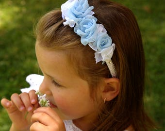 Light blue white flower headband,rose headband,Baby little girl Toddler Girl Adults Women Headband,wedding Girl Headband,Bridesmaid Headband