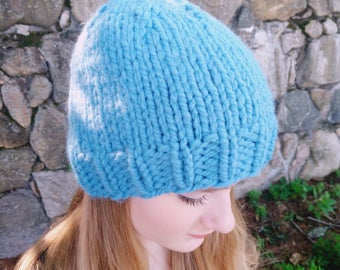 Hand Knit Blue Winter Hat