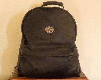 Harley Davidson Black Leather Backpack With Interior Lining And Multiple Zippered Compartments - EUC