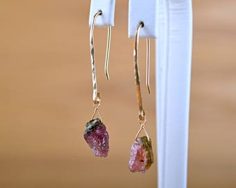 Watermelon Tourmaline Earrings, Raw Tourmaline Earrings natural Green Pink Raw crystal Earrings: 14k Gold Filled, Rose Gold, Sterling Silver