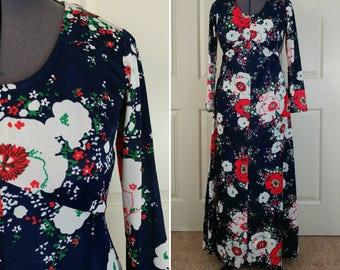 1970s Floral Maxi Dress Size L