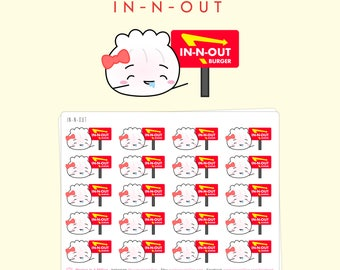 "Dimsum Stickers - ""In-N-Out"" Drooling Steamie [Burger Stickers, California Stickers, Character Stickers, Food Stickers, Fast Food] - S042"