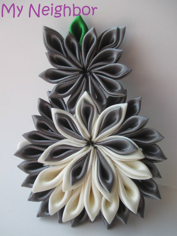 My Neighbor Kanzashi Flower, Handmade Japanese Fabric Flower Hair Clip