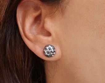 Silver Half ball Earrings, Oxidized Silver Stud Earrings, Minimalist, Half ball Earrings, Textured Silver Stud Earrings, Handmade jewelry