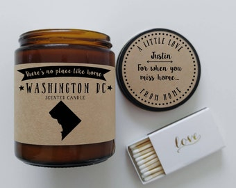 Washington DC Scented Candle Missing Home Homesick Gift Moving Gift New Home Gift No Place Like Home State Candle Miss You Christmas Gift