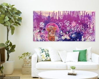 A Call For Courage - 24x48inch Abstract Tiger Art, Magenta Contemporary Artwork ,Modern Painting, Original Painting on Canvas