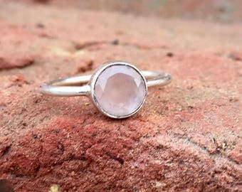 Natural Rose Quartz Ring- Stone Ring - Gemstone Ring - Gemstone Jewelry - Handmade Jewelry