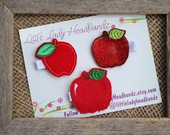 Apple hair clip feltie apple First Day of school hair clip apple clippie - felt apple toddler clip girl clip no slip grip hair barrette
