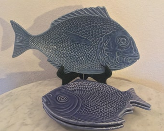 "Vintage Gorgeous Bordallo Pinheiro ""Fish Blue"" Pattern, 1 Fish Shaped Platter & 2 Luncheon Plates. White Blue Embossed Fish. Portugal. Disc."