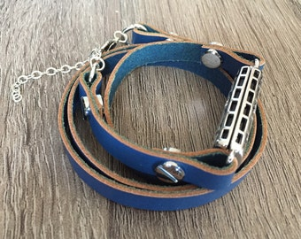 Blue Leather Anklet for Fitbit Flex 2 Activity Tracker Handmade Fitbit Flex 2 Multi Wrap Band Steampunk Fitbit Flex 2 Leather Anklet
