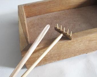 Captivating Wood Box And Rake For Mini Zen Garden, Oak Wood Box, Kit Zen Accessories