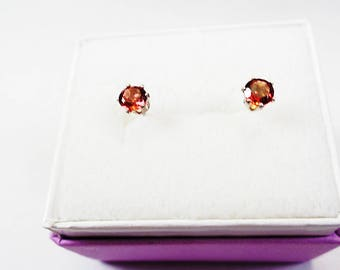 4mm. Round Natural Tourmaline Silver Stud Earrings. .25cts. each.