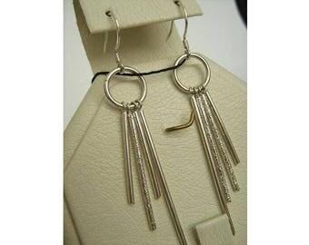 SOLID 925 Sterling Silver Cute Pending Dangling HOOK EARRINGS Dangle Long Fringe Tassel Pattern Asymmetric Mismatch Different Size