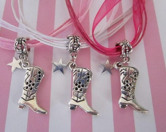 Set of 10 Cowgirl Party Favor Necklaces, Cowgirl Boot Party Favor Necklaces, Cowgirl Necklaces, Jewelry, Necklaces, Charm Necklaces