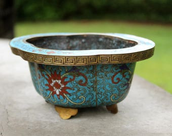 Antique Chinese Blue Cloisonne Bonsai Planter // Turquoise Flower Planter // Enamel // Brass // Footed Planter