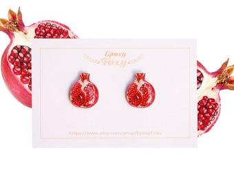 Pomegranate studs , Fruit earrings , Fruit jewelry , Pomegranate earrings , Summer earrings , Food earrings , Fruit lover gift