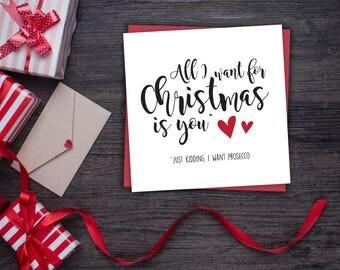 Funny Prosecco Christmas Card - Funny Boyfriend Christmas Card - Husband Christmas Card - All I Want For Christmas Is Prosecco