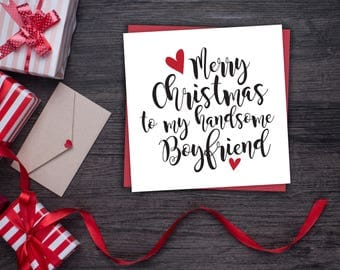 Handsome Boyfriend Christmas Card - Cute Boyfriend Christmas Card - Christmas Card - Merry Christmas To My Handsome Boyfriend Card