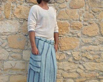 SICILY. Men's Steel Blue striped pure linen pare with pocket. Lightweight pure linen.