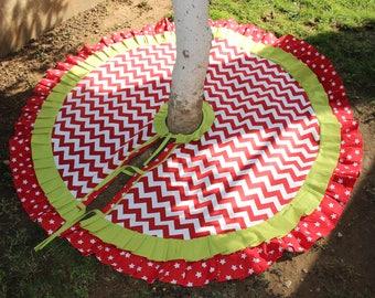READY To SHiP Chevron Tree Skirt Red White Christmas Ruffled