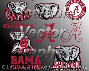 9 Alabama Crimson Tide Vector Designs - Cut Files - svg / dxf / eps