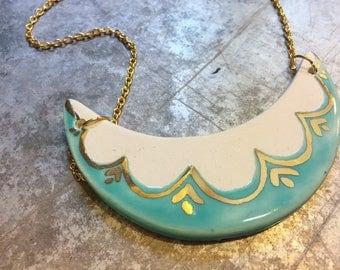 Ceramic & 22k gold pendant, ceramic pendant, modern ceramic jewelry, minimal jewelry, boho necklace, turquoise and gold