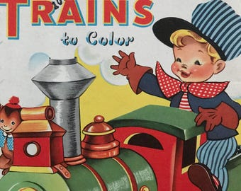 Adorable Unused Vintage Whitman Trains To Color Coloring Book