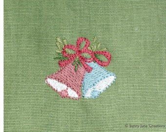 Machine embroidered pattern design christmas bells - instant download