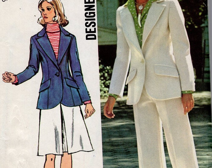 FREE US SHIP Simplicity 5454 Vintage Retro 1970's 70's Sewing Pattern Wide Lapel Jacket Cuff Pants Wide leg Uncut Sewing Pattern Bust 34