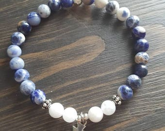 Sodalite and jade bracelet