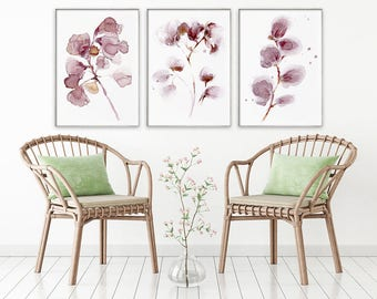 set of 3 flower WINE paintings, COFFEE PAINTINGS, pink flower painting, abstract flower painting, abstract flower print