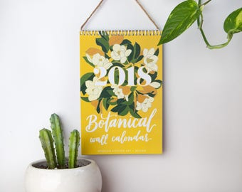 2018 Wall Calendar, 2018 Calendar, Botanical, Desk Calendar, Illustrated Calendar, floral, flowers, cactus, gifts for her, decorative
