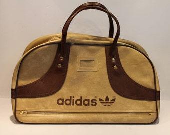 Adidas Gym Bag - Vintage Adidas Tote Bag - Brown and Tan Vintage Bag - Mint Condition Adidas Bag - Unused Vintage Tote