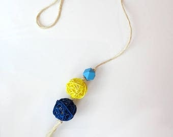 Cat toy rattan ball - Door knob , sisal, natural, Super resistant,  blue, geometric, animalove