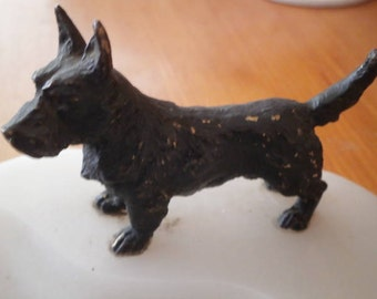 COLD PAINTED BRONZE Scottie dog on genuine marble stand